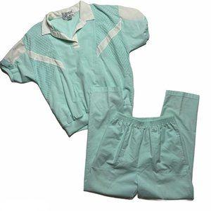 Vintage 80s Ladies 2pc Outfit Blue White Short